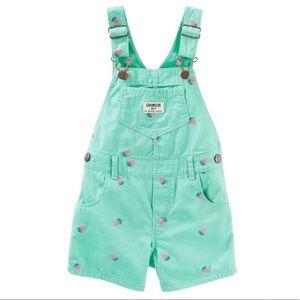 Osh Kosh (9 Months) Girls Pineapple Overall Shorts